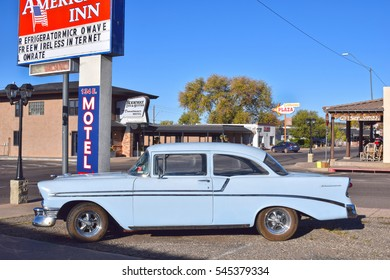 WILLIAMS, ARIZONA, USA - MARCH 21, 2016: Chevrolet vintage car in Williams, Arizona, on the historic Route 66. The famous highway is visited by travellers from all of the world.
