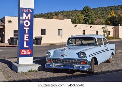 WILLIAMS, ARIZONA, USA - MARCH 21, 2016: Chevrolet vintage car in Williams, Arizona, on the historic Route 66. The famous highway is visited by travellers from all of the world