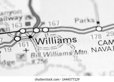 Williams. Arizona. USA on a map