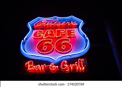 WILLIAMS, ARIZONA,USA-JULY 18: Neon signs on the famous route 66 in Williams on July 18, 2013.