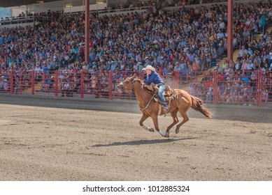 Williams Lake, British Columbia/Canada - July 2, 2016: a barrel racing competitor urges her horse to the second barrel at the 90th Williams Lake Stampede.