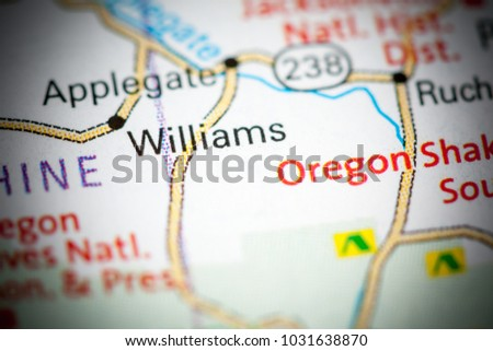 Williams Oregon Usa On Map Stock Photo Edit Now 1031638870