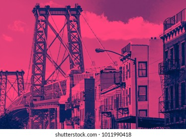 Williamsburg Bridge cityscape street scene in Brooklyn, New York City in pink and blue
