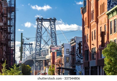 Williamsburg Bridge Street Scene in Brooklyn, New York City