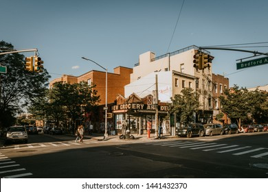 Williamsburg, Brooklyn, New York, United States - June 23 , 2019: People are walking along Bedford Avenue in Williamsburg, Brooklyn on a beautiful weekend afternoon.