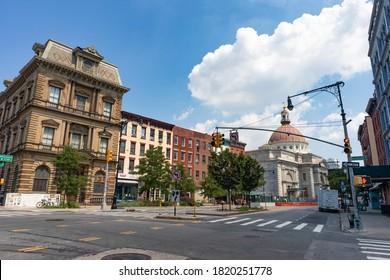 Williamsburg Brooklyn, New York / USA - August 10 2020: Empty Williamsburg Brooklyn Street with Beautiful Buildings