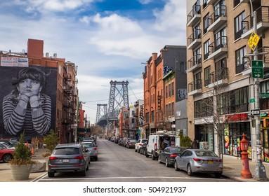 Williamsburg, Brooklyn - October 1st, 2016: View of the Williamsburg bridge.