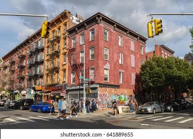 Williamsburg, Brooklyn, United States - September 3, 2016: People are walking along Bedford Avenue in Williamsburg, Brooklyn on a beautiful Weekend afternoon.