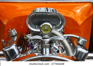 WILLIAMSBURG, VA - May 9, 2015: An old 1923 Ford T-Bucket coupe hot rod engine at the 6th Annual Project Lifesaver Car Show in Williamsburg Virginia on a summer day.
