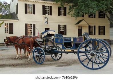WILLIAMSBURG, VA – OCTOBER 6: The horse and carriage was a primary method of transportation used by the Virginia colonists October 6, 2017 in Williamsburg, VA