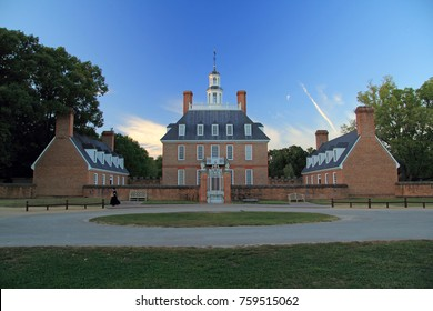 WILLIAMSBURG, VA - OCTOBER 6: The Governor's Palace, rebuilt in the 1930s, served as the official residence of the Royal Governors of the Colony of Virginia October 6, 2017 in Williamsburg, VA