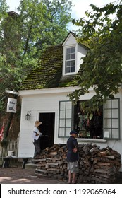 WILLIAMSBURG, VA - SEP 10: Shoemaker in Colonial Williamsburg, Virginia, as seen on Sep 10, 2015. The shoemaker's shop in Williamsburg represents the firm of George Wilson from the late 1760s.