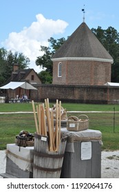 WILLIAMSBURG, VA - SEP 8: Magazine and Guardhouse in Colonial Williamsburg in Virginia, as seen on Sep 8, 2015. It was built in 1715 by Governor Spotswood.
