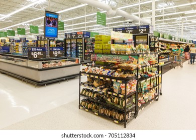 WILLIAMSBURG, VA, USA - CIRCA AUGUST 2015: View of inside the Walmart supermarket.