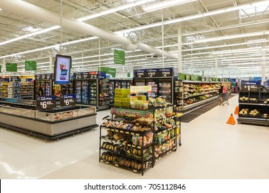WILLIAMSBURG, VA, USA - CIRCA AUGUST 2015: View of inside the Walmart supermarket.