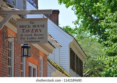 WILLIAMSBURG, VA, USA - MAY 7, 2012: Antique Brick House Tavern in Colonial Williamsburg, Virginia, USA.