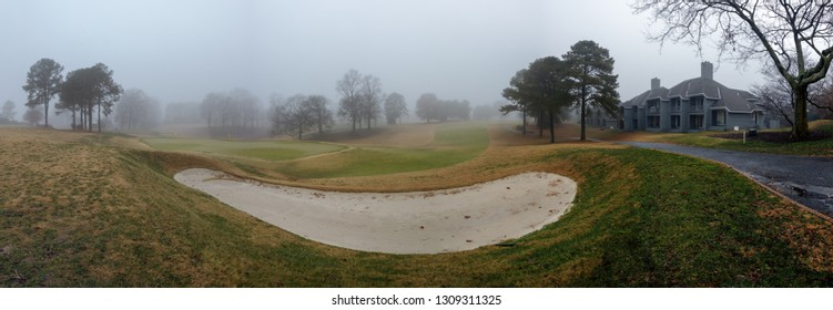 Williamsburg, Virginia - December 15, 2018: Bunker sand pit trap on a professional PGA golf course at Kingsmill Resort - panorama