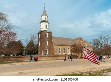 Williamsburg, Virginia , USA - April 1, 2018 : Bruton Parish Episcopal Church of British Colony, Williamsburg, Virginia, USA