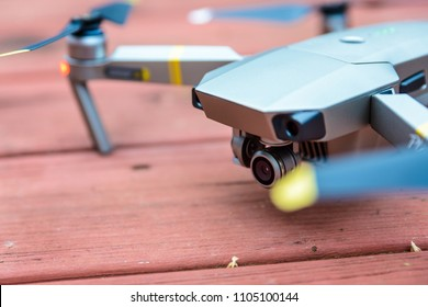 WILLIAMSBURG, VIRGINIA, USA - CIRCA DECEMBER 2017: A DJI Mavic Pro Platinum drone.