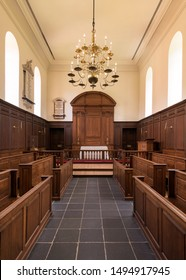 WILLIAMSBURG, VIRGINIA/USA - JULY 25, 2019: The Chapel inside the historic Wren Building at the West End of Duke of Gloucester Street on the campus of the College of William and Mary