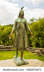 Williamsburg,Virginia - 6/21/2009: statue of sacagawea. Sacajawea was a Lemhi Shoshone woman who is known for her help to the Lewis and Clark Expedition in achieving their chartered mission objectives