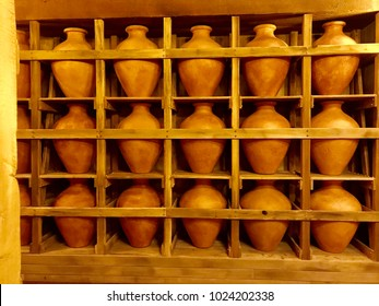 Williamstown, KY, USA - November 3, 2017:  Clay pots used for to store liquid and grain on the ark in Noah's ark replica at the Ark Encounter Theme Park in Williamstown, Kentucky, USA