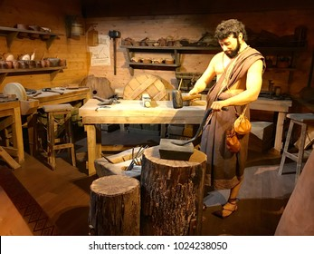 Williamstown, KY, USA - November 3, 2017:  Blacksmith workshop on the Noah's ark replica at the Ark Encounter Theme Park in Williamstown, Kentucky, USA