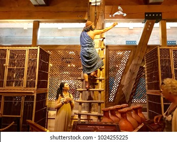 Williamstown, KY, USA - November 3, 2017:  Noah releasing the dove on Noah's ark replica at the Ark Encounter Theme Park in Williamstown, Kentucky, USA