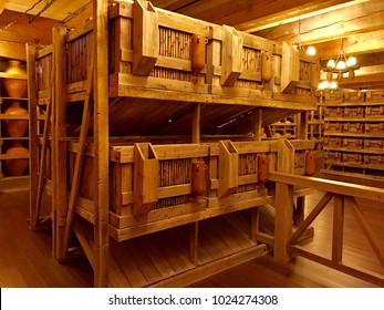 Williamstown, KY, USA - November 3, 2017:   Animal cages inside the Noah's ark replica at the Ark Encounter Theme Park in Williamstown, Kentucky, USA.