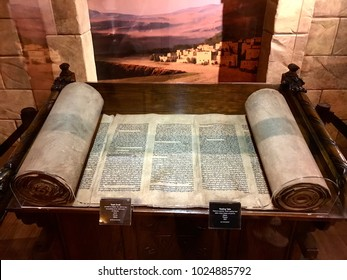 Williamstown, KY, USA - November 3, 2017:  Torah Scroll referencing the building of the tabernacle in Hebrew from the 1800's in Noah's ark replica at the Ark Encounter Theme Park in Williamstown, Kent