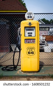 Williamsville, Illinois, USA - July 5, 2014: A vintage gas pump at The Old Service Station along the historic route 66 in Williamsville, State of Illinois, USA.