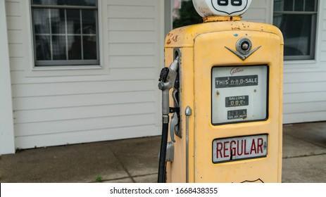 Williamsville, Illinois/USA - June 9, 2018: Antique Gas Pumps Along Historic Route 66.