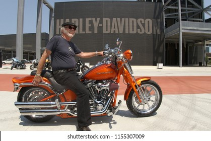 Willie G. Davidson, grand son of co founder  William A. Davidson of Harley-Davidson in front of the HD museum during the opening, Milwaukee; Wisconsin/America - July 1, 2008