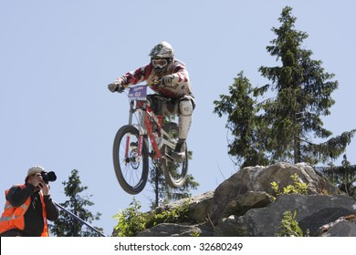 """WILLINGEN, GER - JUNE 13, Benno Froehlich (GER) #63, racing at """"world downhill competition"""", amateur class race, Willingen, Germany, June 13, 2009"""