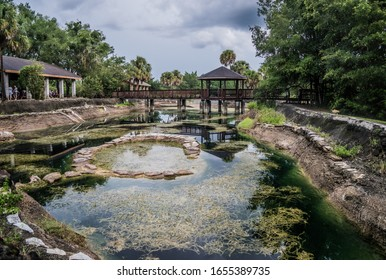 Williston, Florida/USA - July 8, 2017: Devil's Den Recreational Area With Large Creek And Gazebo.
