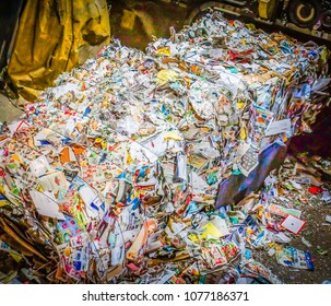 Williston, Vermont /USA -April 19,2018 : mixed paper baled and ready to recycle