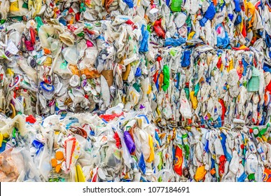 Williston, Vermont /USA -April19,2018 : mixed color plastic baled for recycling  in a Material Recycling Facility