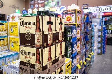 Willits, CA/USA 06/16/2019 Cases of beer for sale inside a liquor store