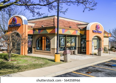 Willow Street, PA - January 25, 2017: Taco Bell is a fast-food restaurant that serves a variety of Tex-Mex foods, including tacos, burritos, quesadillas, and nachos, at more than 7,000 locations.