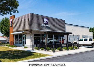 Willow Street, PA, USA - July 10, 2018: Taco Bell, a fast-food restaurant offering a Mexican inspired menu, serves has more than 5,800 locations.