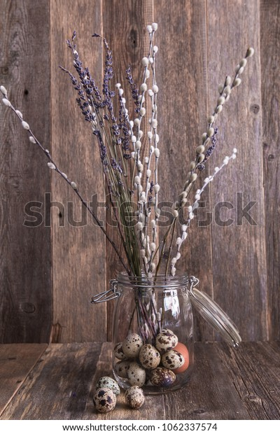 Willow tree on wooden background