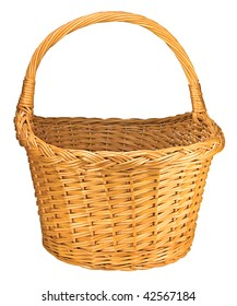 Willow Wicker Basket, Isolated On White