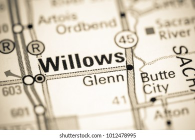 Willows. California. USA on a map.