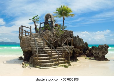 Willys Rock, situated on the famous White Beach, is one of the most recognizable landmarks of Boracay Island, Philippines