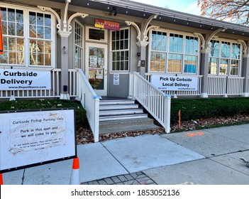 Wilmette, IL/USA - November 12 2020: Depot Nuevo is one of many restaurants preparing for a long winter of COVID dining restrictions by promoting delivery and curbside takeout.