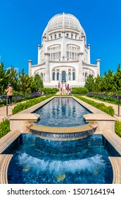 Wilmette, USA - September 15, 2019 : The Baha'i House of Worship located in Wilmette, north of Chicago, is one of eight temples dedicated to the Bahai faith in the world.