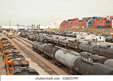 WILMINGTON, CALIFORNIA - NOVEMBER 19, 2016: BNSF Railway rail yard on Pacific Coast Highway. From the bridge just east of Banning Park.