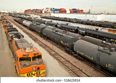 WILMINGTON, CALIFORNIA - NOVEMBER 19, 2016: BNSF Railway rail yard on Pacific Coast Highway. From the bridge just east of Banning Park.