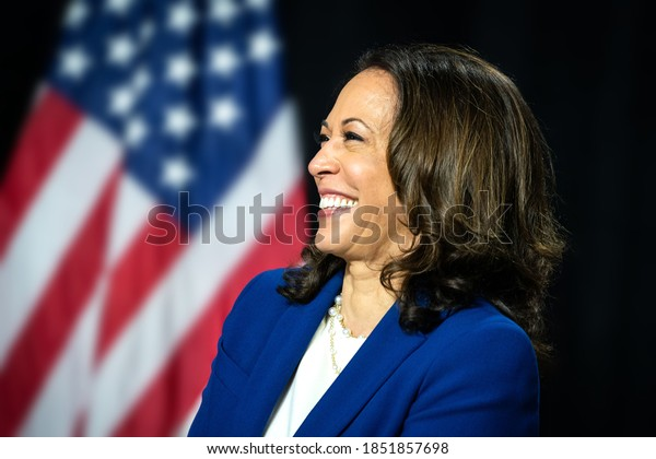 Wilmington, DE - 12 August 2020: Announcement of Senator Kamala Harris as Candidate for Vice President of the United States. Also chat with supporters and share useful things.