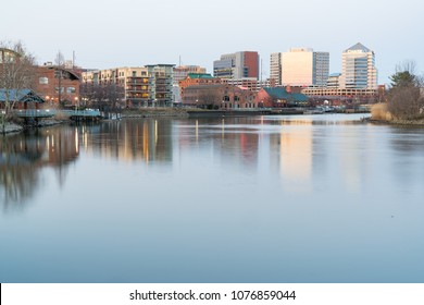 WILMINGTON, DE - APRIL 5, 2018: Wilmington, Delaware Skyline and Riverwalk  along the Christiana River
